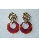 R J Graziano Tortoise & Gold Drop Hoop Earrings Clip - $15.00