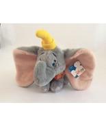 "DISNEY STORE gray DUMBO W/ YELLOW HAT 8"" vintage plush stuffed animal toy - $12.19"