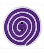 Small Violet White Swirl 3480s handmade clay bu... - $1.40