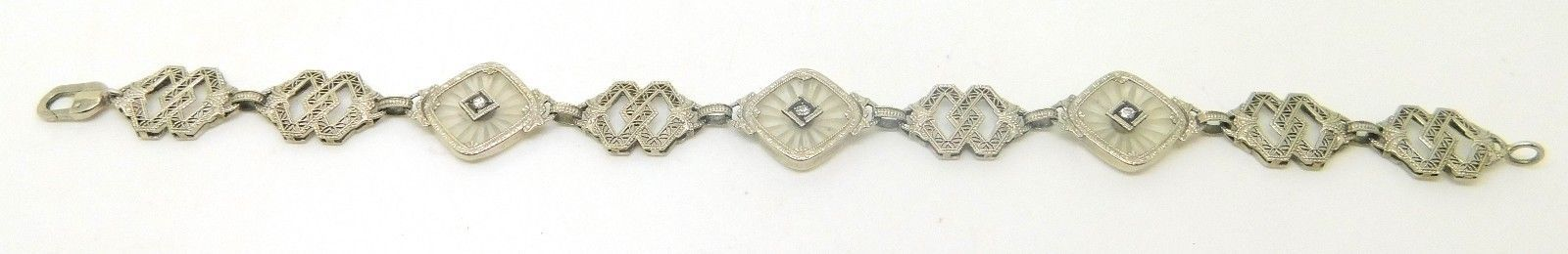 10k Gold Filigree / Art Deco Genuine Natural Camphor Bracelet w/Diamonds #J3826