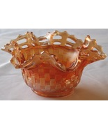 Fenton Marigold Carnival Glass Bowl Blackberry Vintage Basket Weave Irid... - $31.93