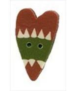 """Sm Cinnabar Rick Rack Heart 3482s handmade button .25"""" JABC Just Another... - $1.40"""