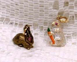 Joan Rivers Noah's Ark Bunny Rabbits Charm Set Pair w Pink Eyes Carrot C... - $65.00