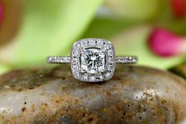 Beautiful White Diamond Halo Design Womens Anniversary Ring Solid 14k White Gold - $369.99