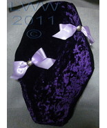 Handmade Crushed Purple Velvet Bow Skull Bones Gothic Coffin Casket Thro... - $24.99