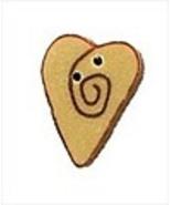 "Small Mocha Red Swirly Heart 3485s handmade button .25"" JABC Just Anothe... - $1.40"