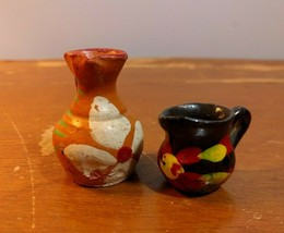 2 Mexican Pottery Mini Water Pitchers Jugs Brown Black Floral Miniature - $11.88