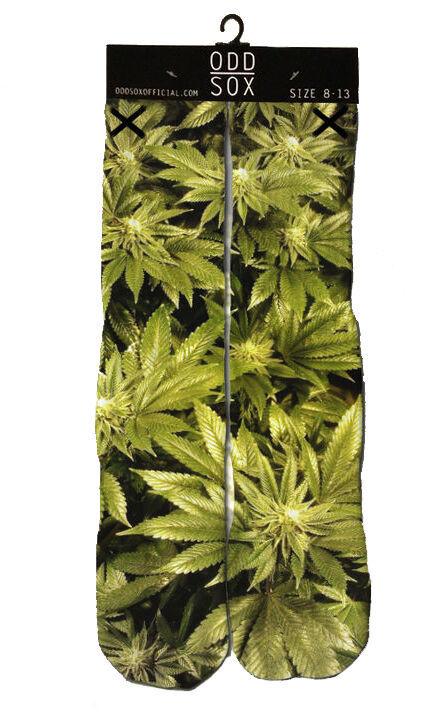 Odd Sox Femmes Hauteur Genou Marijuana Herbe Fumer Dope Sublimé Socks 5-11 Nwt