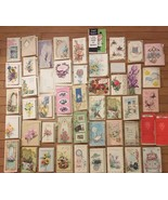 Lot of 50 Vintage Greeting Cards Used Get Well 1960's die cut embossed e... - $60.78