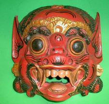 Mask Bali Hindu Raksaksa Demon Hand carved small 8.5 x 8 inch RED Black ... - $75.00