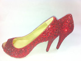 Wedding Shoes red crystal Bling Rhinestone open toe Bridal Shoes Peep To... - $125.00