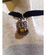 Vintage Argent Bronze Véritable Tibet de Tigre Oeil Dragon Collier Ras D... - $64.34