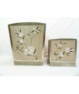 Croscill Silk Blossoms Floral Natural 2-PC Waste Basket and Tissue Box C... - $39.00