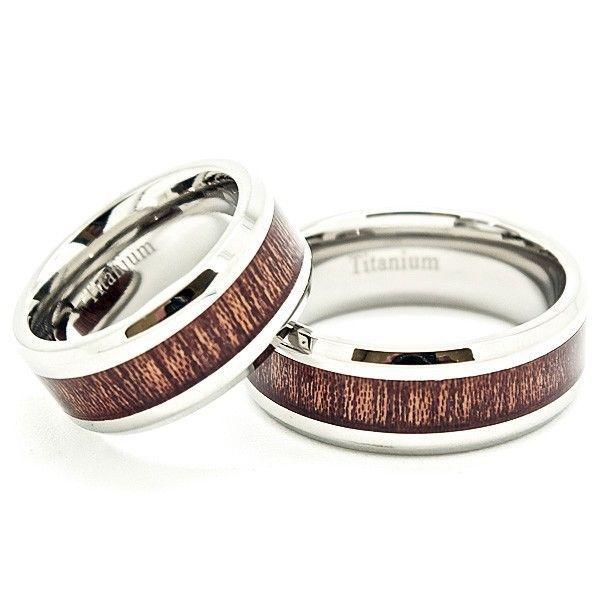 8mm wood grain inlay titanium matching anniversary wedding