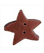 "Medium Creek Brown Star 3496m handmade clay button .44"" JABC Just Anothe... - $1.40"
