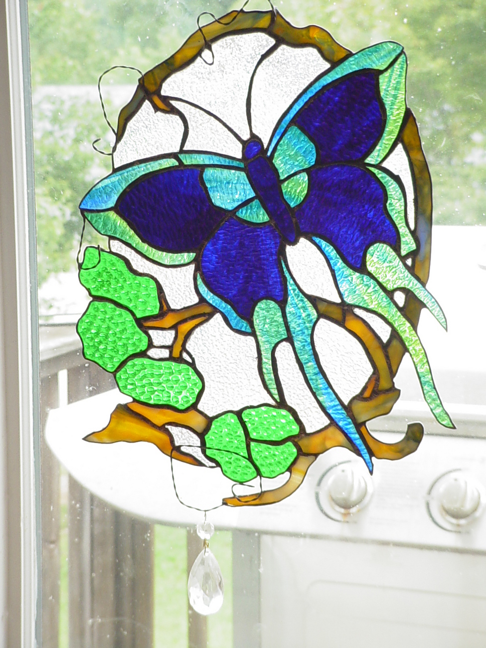 Stained glass butterfly freeform panel suncatcher mosaic for Butterfly stained glass craft
