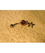 BELLY NAVEL RING PINK SAPPHIRE STAR DANGLE #696B - $7.99