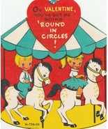 Vintage Valentine Card Boy and Girl on Carousel You've Got Me Going in C... - $6.92