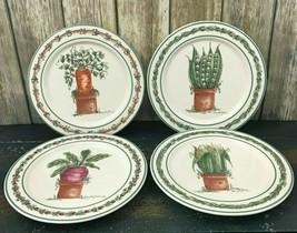 Vintage Otagiri Mary Hughes 1997 Enesco Set of 4 Plates Potted Vegetables  - $118.79