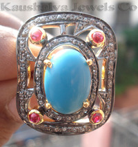 Victorian 2.02ct Rose Cut Diamond Turquoise Ruby Elegant  Wedding Ring - $394.23