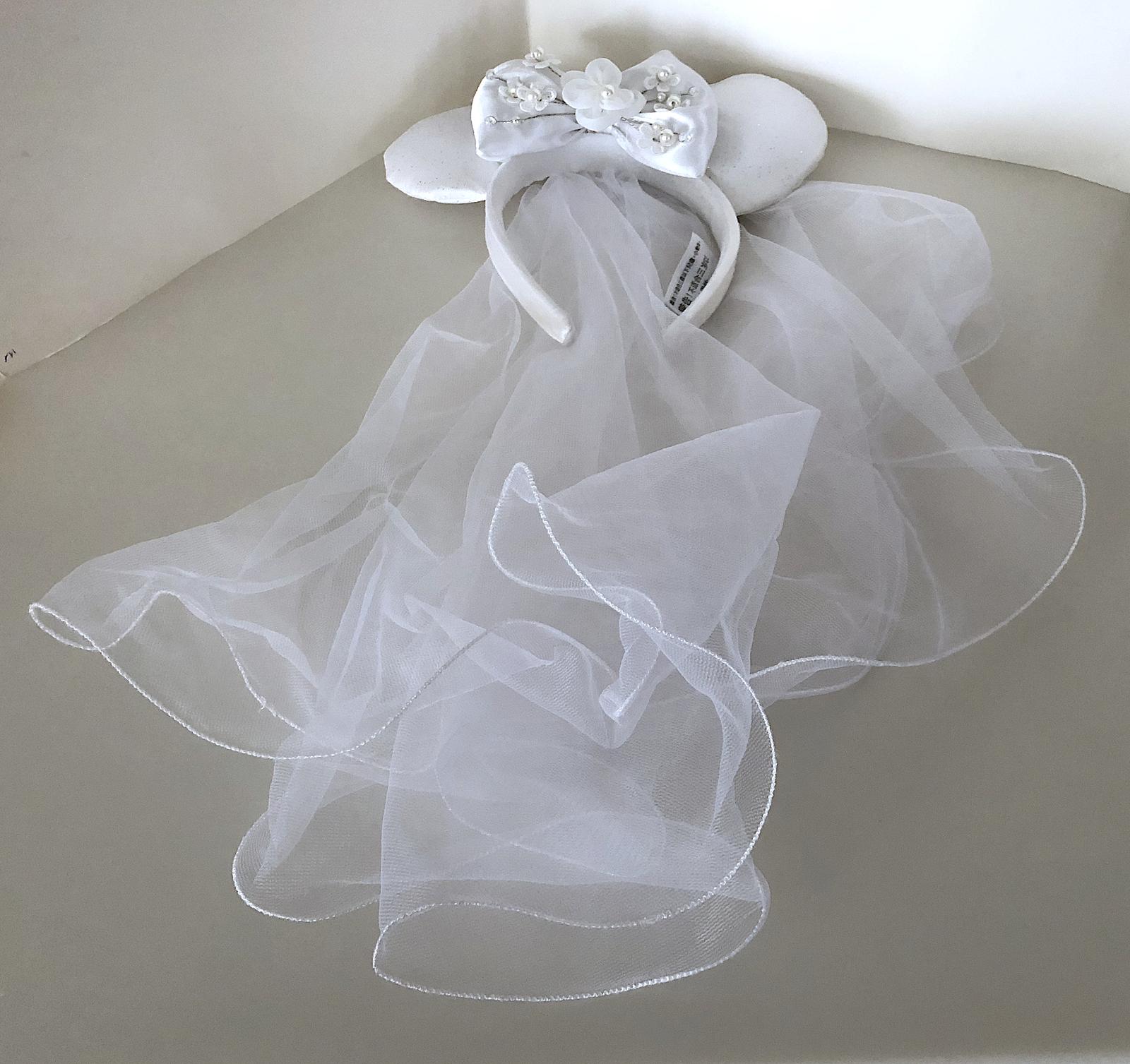 Disney Parks Minnie Mouse Mickey Ears Bride Veil Headband with Bow ... 4e75021024e