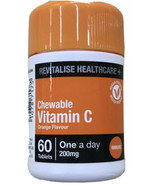 Chewable Vitamin C 200mg For immunity orange 60 tablets revitalise healt... - $24.18