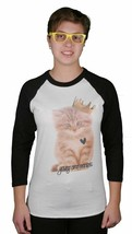 Young And Reckless Womens Queen Purr Cat Raglan 3/4 Sleeve White Black Shirt Top