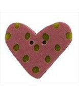 "Small Rose Lime Heart 3499s handmade clay button .625"" JABC Just Another... - $1.60"