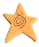 "XLg Golden Swirly Star 3500X handmade button 1"" JABC Just Another Button - $1.40"