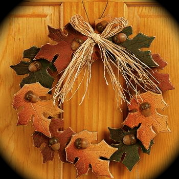 FALL WooDeN LEaVeS WrEatH Autumn florial home decor Harvest county primitive