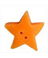 Large Orange Star 3502L handmade clay button .5... - $1.40