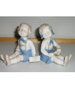 Vintage Blue & White Figurines - Twins - Boy & Girl with Books - 1930s /... - $9.99
