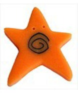 "XLg Orange Swirly Star 3504X handmade button 1"" JABC Just Another Button - $1.40"