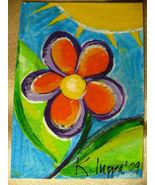 IUPPA ACEO ORIGINAL Acrylic Painting Flower Power BOHO - $9.29