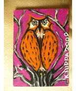 IUPPA  ACEO ORIGINAL Acrylic Painting Owl Bird Signed - $9.29