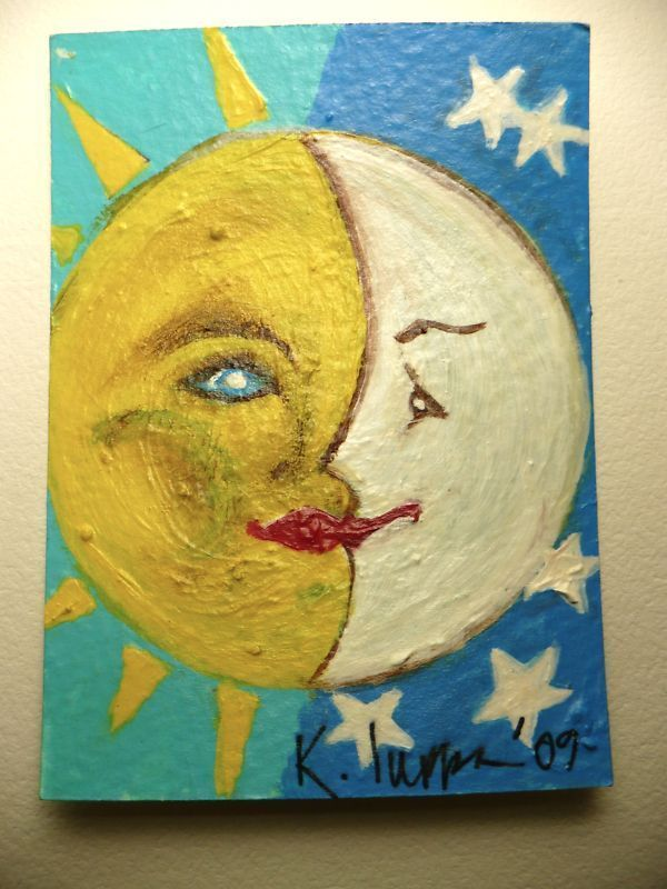 Primary image for IUPPA  ACEO ORIGINAL Acrylic Painting Sun Moon Signed