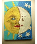 IUPPA  ACEO ORIGINAL Acrylic Painting Sun Moon Signed - $9.29