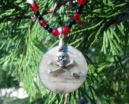 Skull and Crossbones Beaded Shell Necklace Handmade In USA Unisex  - $29.99