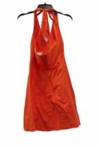 Women Trina Turk Orange Halter Summer Cotton Linen Dress Small image 3