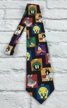 Looney Tunes Mania Mens Necktie Tweety Bird Bugs Daffy Black 100% Silk - $13.69