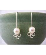 Clover Cream Pearl Earrings Handmade by Chula - $20.00