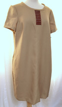 ANNE KLEIN Textured Shift Dress Oak Tan Fully Lined Rattan Insert Modest... - $48.99
