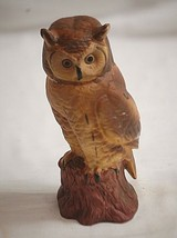 Old Vintage Bisque Horned Owl Figurine Curio Cabinet Shelf Decor Detailed - $14.84