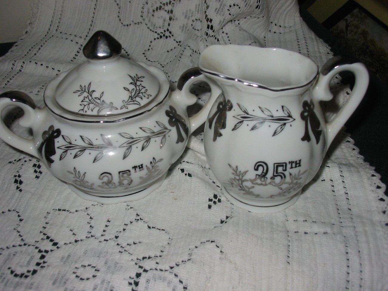 Lefton White with silver 25th Anniversary Creamer and Sugar Set - $10.00