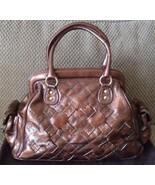 ISABELLA FIORE Rich Stitch Celine Bronze Patent Leather Satchel (MAKE AN... - $272.25
