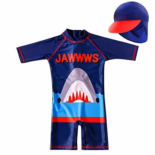 Baby Toddler Boys Shark Swimsuit Short Sleeve Bathing Suit-One Piece Swimwear In