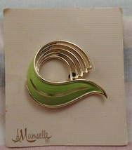 Vintage MAMSELLE Gold and Green Brooch Pin on original Card - $4.41
