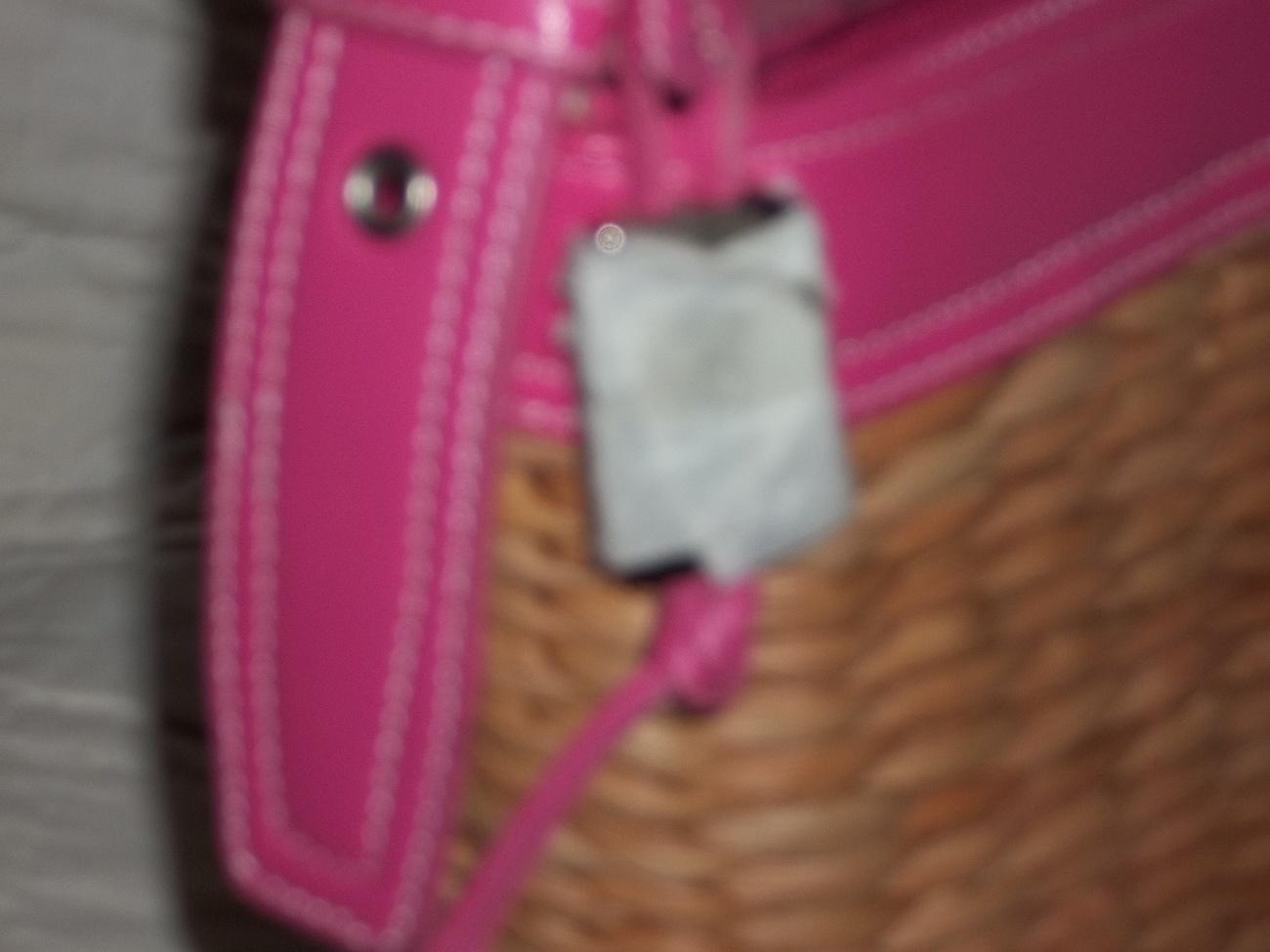 MAGGI B Woven Cornhusk Vinyl Handbag Purse NWT MINT $40