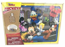 Disney Mickey Mouse 5 Wood Jigsaw Puzzles in Wood Storage Box - $15.97