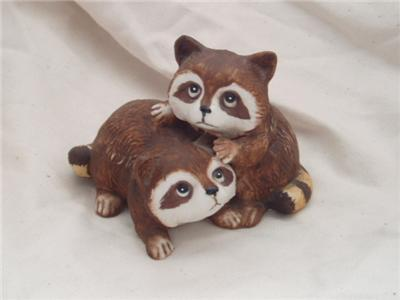 Homco Porcelain Baby Racoon Pair 1454 Home Interiors